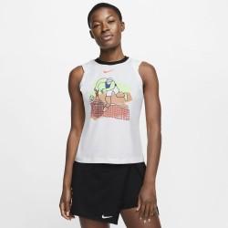 Promo Débardeur Femme Nikecourt Dri-Fit Blanc